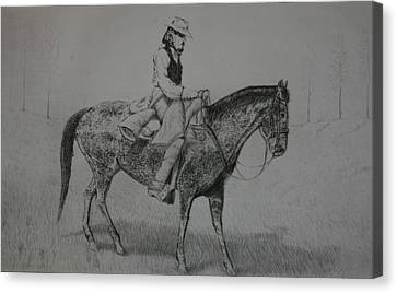 Canvas Print featuring the drawing Horseman by Stacy C Bottoms