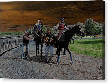 Canvas Print featuring the digital art Horses 001 by Dorin Adrian Berbier