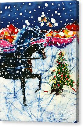 Horses Trot To The Christmas Tree Canvas Print by Carol Law Conklin