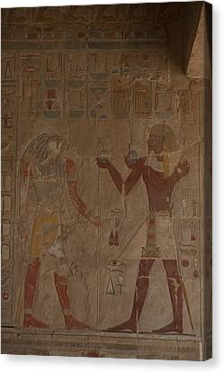 Horus Is Shown Receiving Gifts Canvas Print by Taylor S. Kennedy