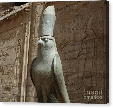 Horus The Falcon At Edfu Canvas Print by Bob Christopher