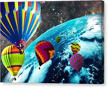 Hot Air Balloon Space Race Canvas Print by Michael Ambrose