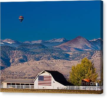 Hot Air Balloon With Usa Flag Barn God Bless The Usa Canvas Print by James BO  Insogna