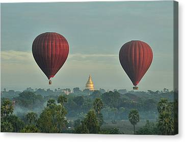 Hot Air Balloons Over Bagan In Myanmar Canvas Print by Huang Xin