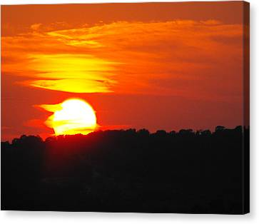 Hot August Sunset In Texas Canvas Print by Rebecca Cearley