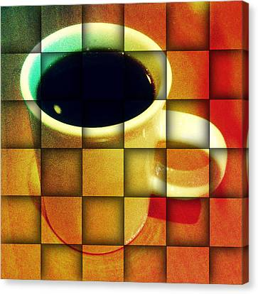 Canvas Print featuring the digital art Hot Coffee 02 by Ana Tirolese