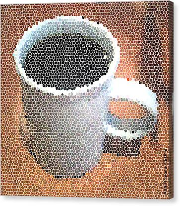 Canvas Print featuring the digital art Hot Coffee 03 by Ana Tirolese