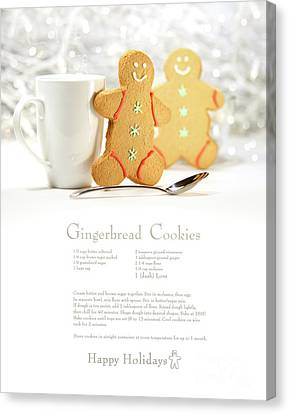 Hot Holiday Drink With Gingerbread Cookies  Canvas Print by Sandra Cunningham