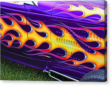 Hot Rod With Custom Flames Canvas Print by Garry Gay