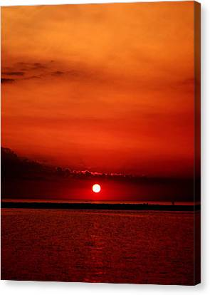 Hot Sunset Canvas Print by Leigh Edwards
