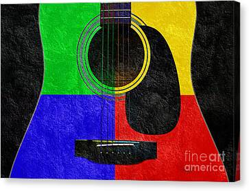 Popular Canvas Print - Hour Glass Guitar 4 Colors 1 by Andee Design