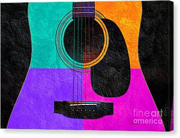 Popular Canvas Print - Hour Glass Guitar 4 Colors 2 by Andee Design