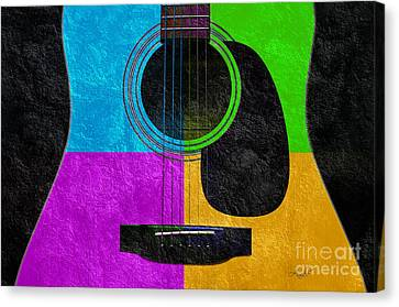 Popular Canvas Print - Hour Glass Guitar 4 Colors 3 by Andee Design