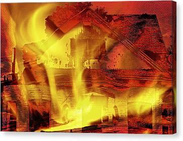 House Fire Illustration 2 Canvas Print by Steve Ohlsen