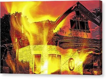 House Fire Illustration Canvas Print by Steve Ohlsen