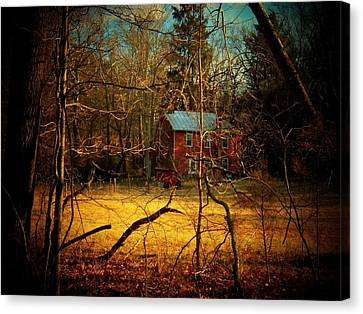 Mountain Cabin Canvas Print - House In The Forest by Joyce Kimble Smith