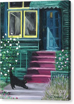 House With A Blue Door  Canvas Print by Laura Iverson