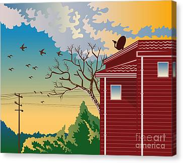 House With Satellite Dish Retro Canvas Print
