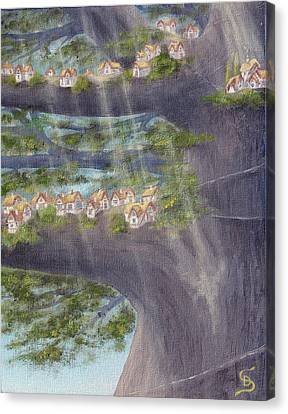 Houses In A Tree From Arboregal Canvas Print by Dumitru Sandru