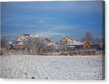 Houses In Winter Canvas Print by Gabriela Insuratelu