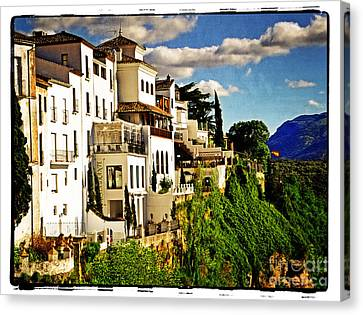 Houses On The Cliff In Ronda Spain Canvas Print