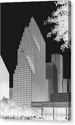 Houston Skyline - Kodak Film Bw Solarized Canvas Print by Connie Fox