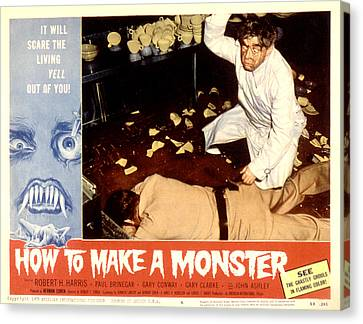 Horror Fantasy Movies Canvas Print - How To Make A Monster, Dennis Cross by Everett