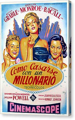 How To Marry A Millionaire, Betty Canvas Print by Everett