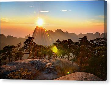 Huangshan Mountain Range Canvas Print by Andy Brandl