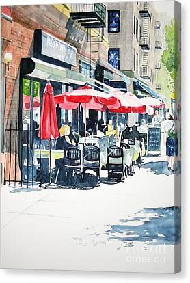 Canvas Print featuring the painting Hudson Diner by Tom Riggs