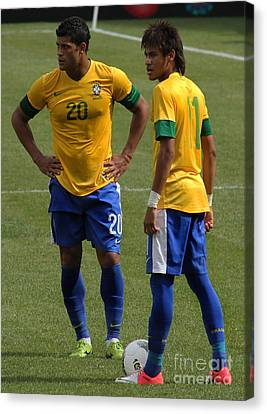Clash Of Worlds Canvas Print - Hulk And Neymar Ready For The Shot by Lee Dos Santos