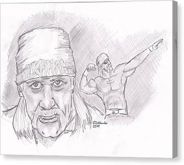 Canvas Print featuring the drawing Hulk Hogan- Immortal by Chris  DelVecchio