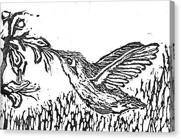 Hummingbird  Block Print Canvas Print by Ellen Miffitt