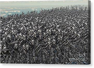 Hundreds Of Robots Running Wild Canvas Print by Mark Stevenson