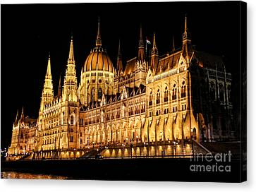 Hungarian Parliament Building Canvas Print by Mariola Bitner