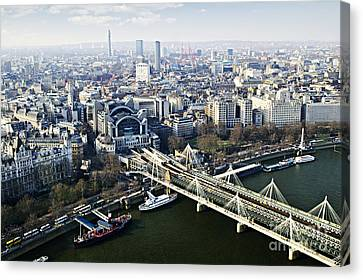 Hungerford Bridge Seen From London Eye Canvas Print by Elena Elisseeva