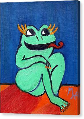 Canvas Print featuring the painting Hungry Female Frog by Margaret Harmon