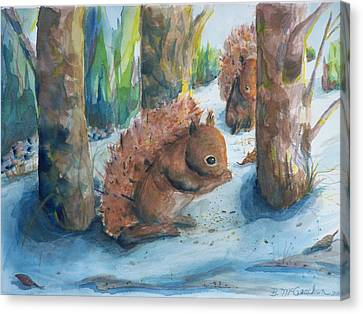 Hungry Red Squirrels Canvas Print