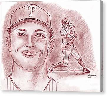 Canvas Print featuring the drawing Hunter Pence by Chris  DelVecchio