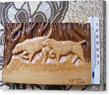 Hunting Dogs-wood Carving Relief And Pyrography Canvas Print by Egri George-Christian