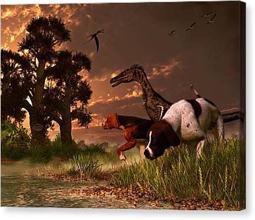 Hunting In The Age Gene Splicing Canvas Print by Daniel Eskridge