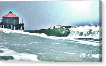 Huntington Wave Canvas Print by Suzette Kallen