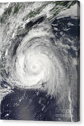 Hurricane Bill Off The East Coast Canvas Print by Stocktrek Images