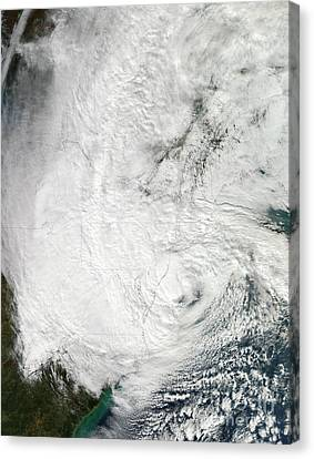 Hurricane Sandy Making Landfall Canvas Print by Stocktrek Images