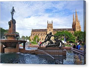 Hyde Park Fountain And St. Mary's Cathedral Canvas Print by Kaye Menner