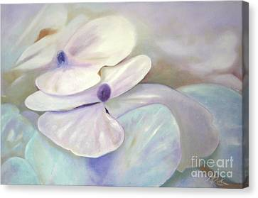 Canvas Print featuring the painting Hydrangea Petals by Michael Rock