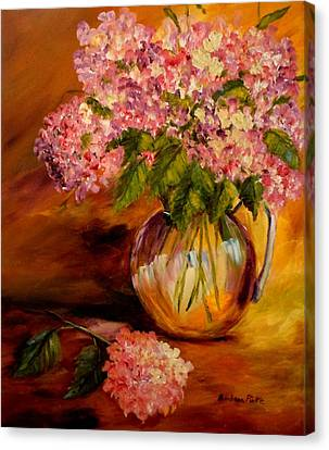 Hydrangeas From The Garden Canvas Print by Barbara Pirkle
