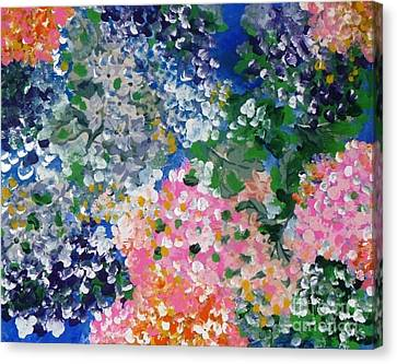 Canvas Print featuring the painting Hydrangeas I by Alys Caviness-Gober