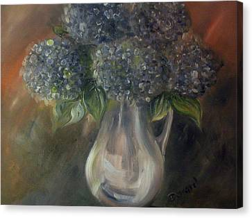Hydrangeas Canvas Print by Raymond Doward