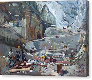 Workers Canvas Print - Hydropower Koman by Ylli Haruni